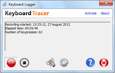 Main window of Keyboard Logger