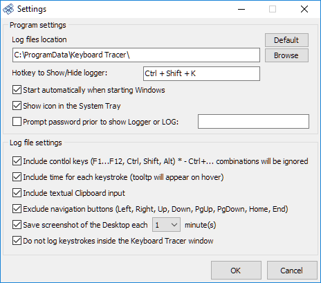 «Settings» window
