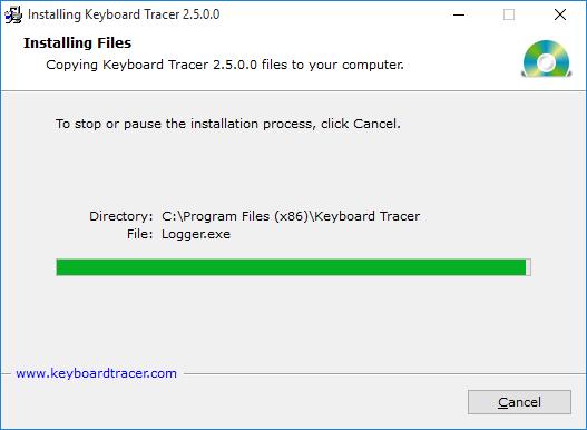 Installasjonsprogrammet kopierer filer