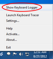 Keyboard Logger tray menu